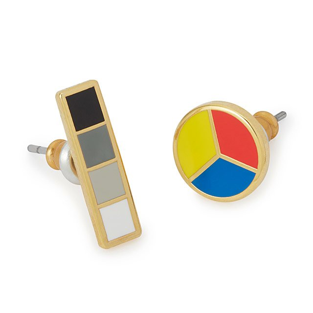 Color Wheel and Grayscale Mismatched Earrings