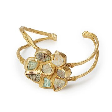 Raw Emerald Flower Cuff