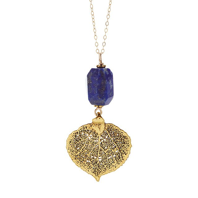 Aspen Leaf Gold with Lapis Necklace