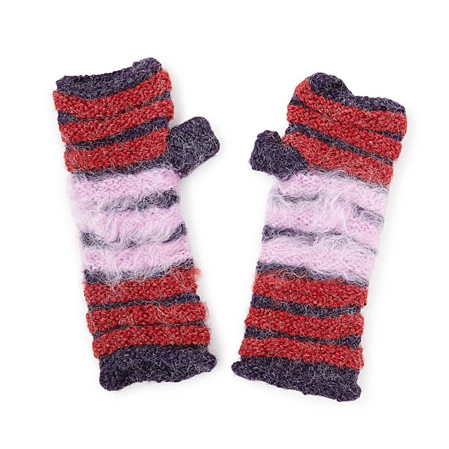 Shaggy Striped Fingerless Mittens