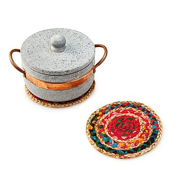 Braided Sari Fabric Trivet Set