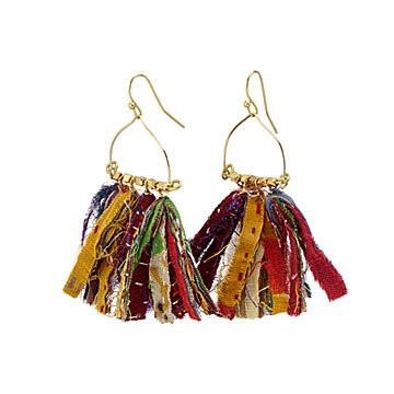 Fringed Kantha Earrings