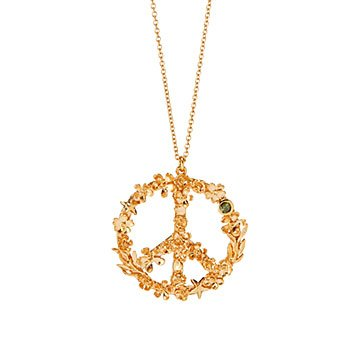 Flower Power Peace Sign Necklace