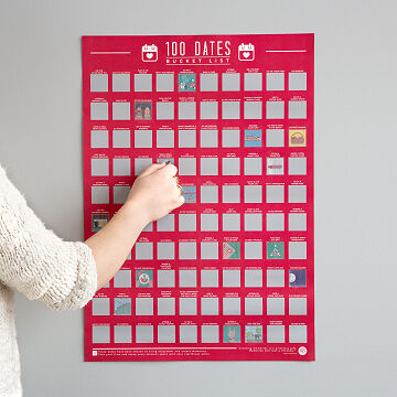 100 Cocktails Scratch Off Poster