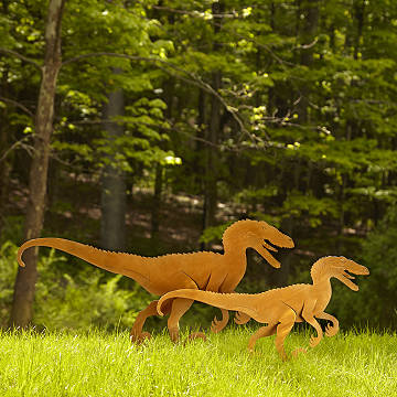Velociraptor Garden Sculpture Set